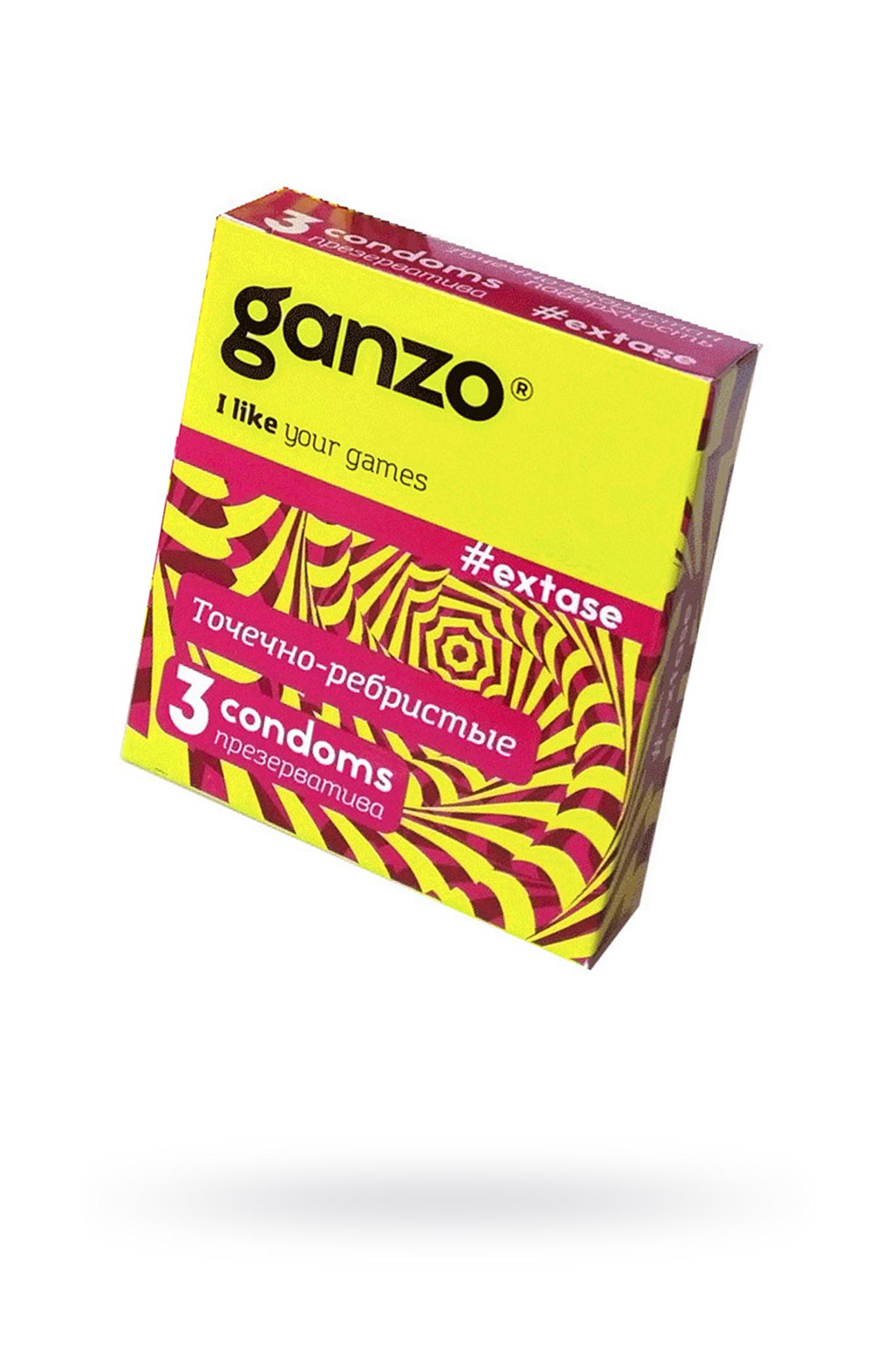 Презервативы Ganzo Extase, с точечно-ребристой поверхностью, анатомической формы, латекс, 18 см, 3 ш фото