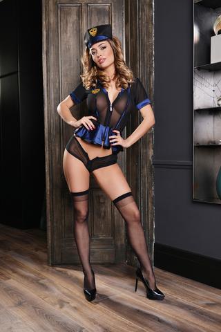 Костюм полицейского Elawin (топ на молнии, шорты на молнии, головной убор и чулки), черно-синий, XL