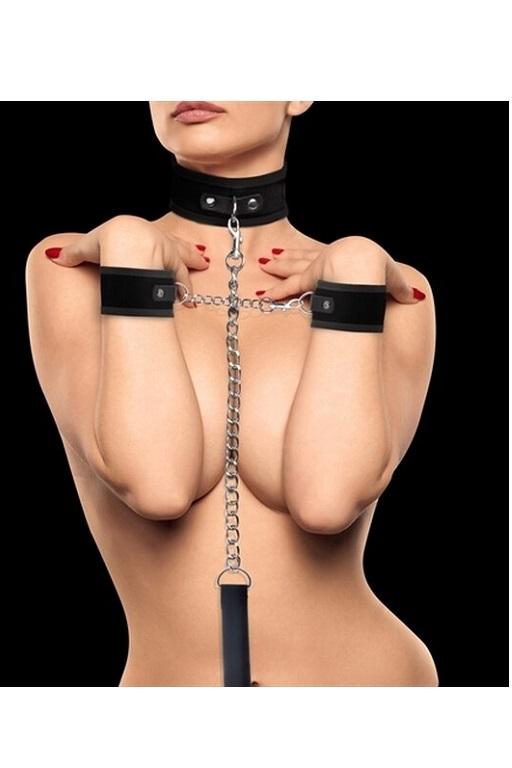 Комплект из шейника с поводком и наручников (оков, фиксаторов) Velcro Collar With Separate Cuffs фото