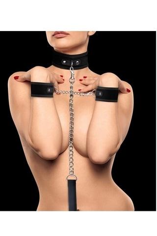Комплект из шейника с поводком и наручников (оков, фиксаторов) Velcro Collar With Separate Cuffs