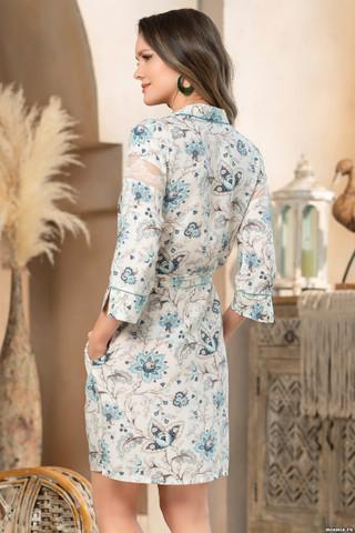 Короткий халат Mia-Amore на пуговицах с рукавом длиной 3/4, выполнен из принтованной вискозы