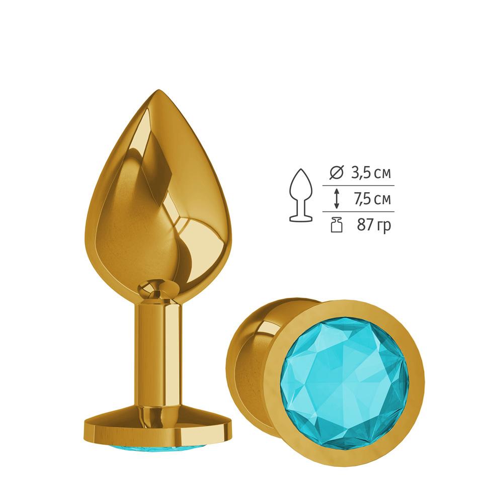Анальная втулка Gold с голубым кристаллом средняя фото
