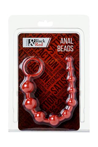 Анальная цепочка Black & Red by TOYFA, водонепроницаемая, ПВХ, красная, 31 см, Ø 3 см