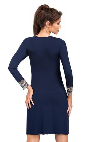 Cорочка Jasmine II темно-синего цвета с рукавом 7/8, выполнена из мягкой гладкой вискозы