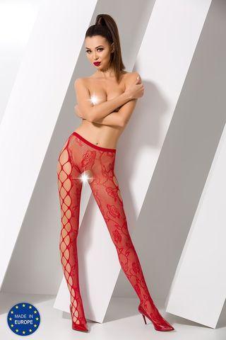 Эротичные колготки с доступом S008 красного цвета