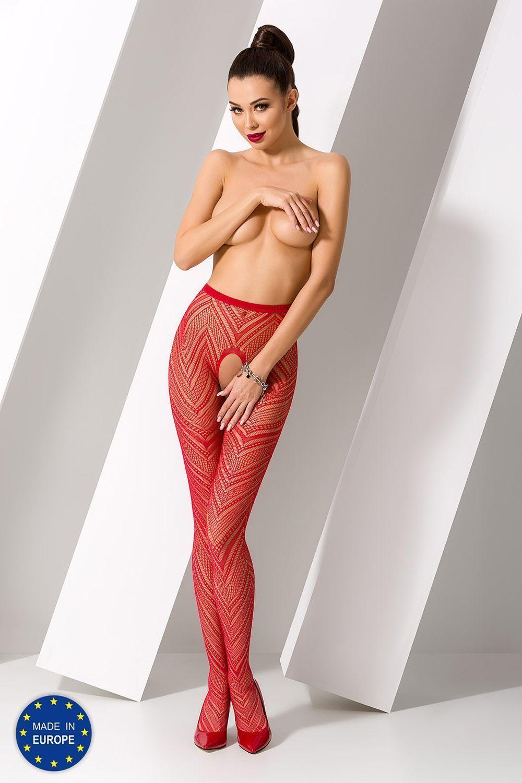 Эротичные колготки с доступом S010 красного цвета фото