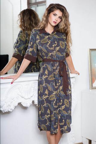 Халат домашний женский выполнен из принтованной вискозы