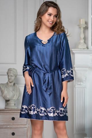 Туника длиной до колен с рукавами длиной 3/4 Mia-Amore выполнена из искусственного шелка насыщенного синего цвета