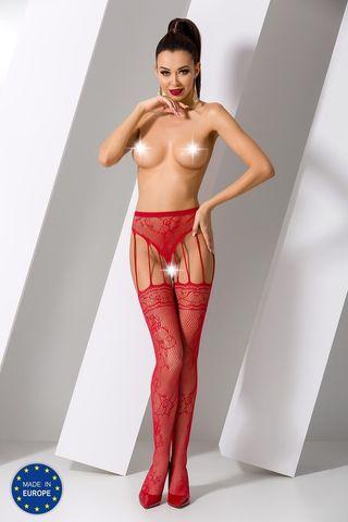 Эротические колготки с доступом S016 красного цвета