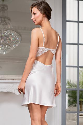 Изящная короткая сорочка Mia-Amore на тонких бретелях с фигурным вырезом на спине