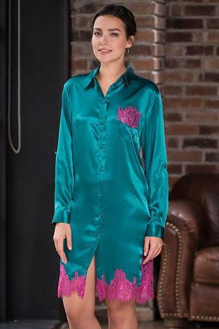 Рубашка Mia-Amore длиной чуть выше колен, с разрезами по боковым швам, с длинным рукавом, выполнена из смесового шелкового полотна