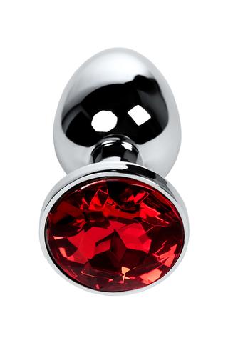 Анальная втулка Metal by TOYFA, металл, серебристая, с кристаллом цвета рубин, 7,1 см, Ø 2,7 см, 150