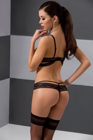 Эротический комплект белья (открытый бюст + стринги) Saria черного цвета, украшен стреп-лентами и кружевом