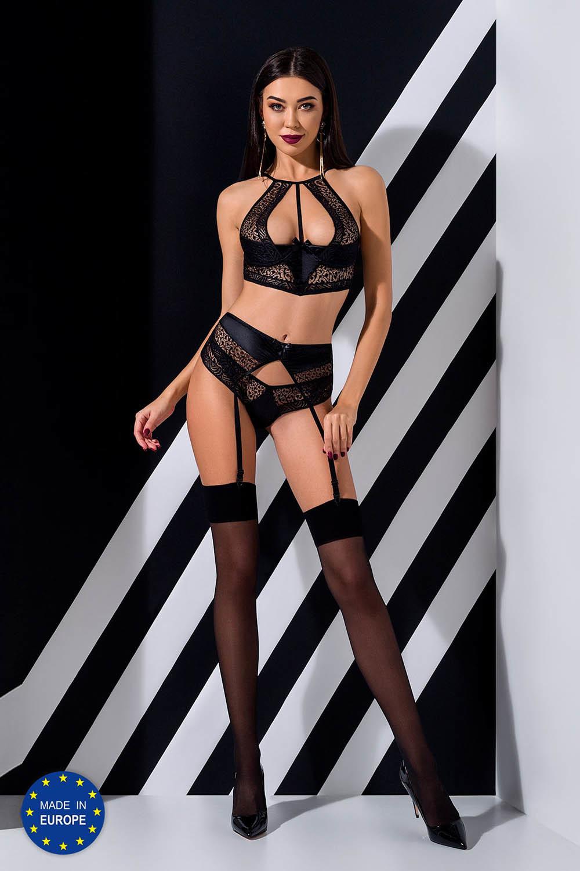 Эротический комплект белья Scarlet черного цвета, выполнен из мягкой сеточки и эластичной ткани фото