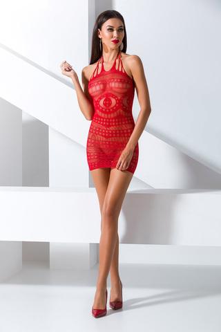Красное эротическое платье-сетка BS063