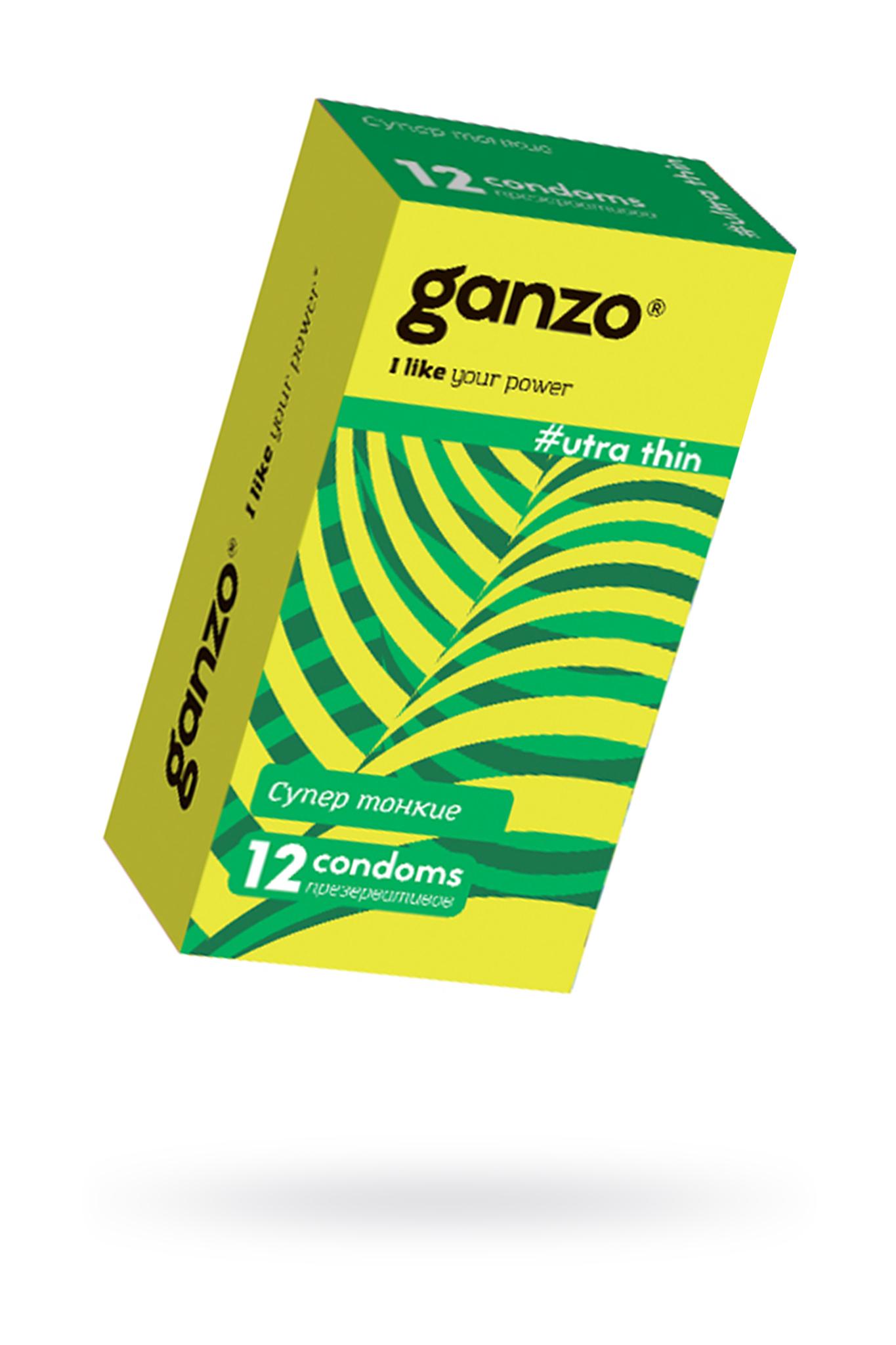Презервативы Ganzo Ultra thin, ультратонкие, латекс, 18 см, 12 шт фото