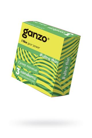 Презервативы Ganzo Ultra thin, ультратонкие, латекс, 18 см, 3 шт