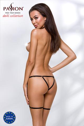 Черное эротическое боди Brenda выполнено из эластичных ремешков-резиночек