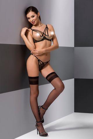 Эротический комплект белья (открытый бюст + стринги) Valery черного цвета, украшен стреп-лентами