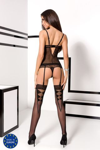 Эротический полупрозрачный корсет + трусики Velia черного цвета