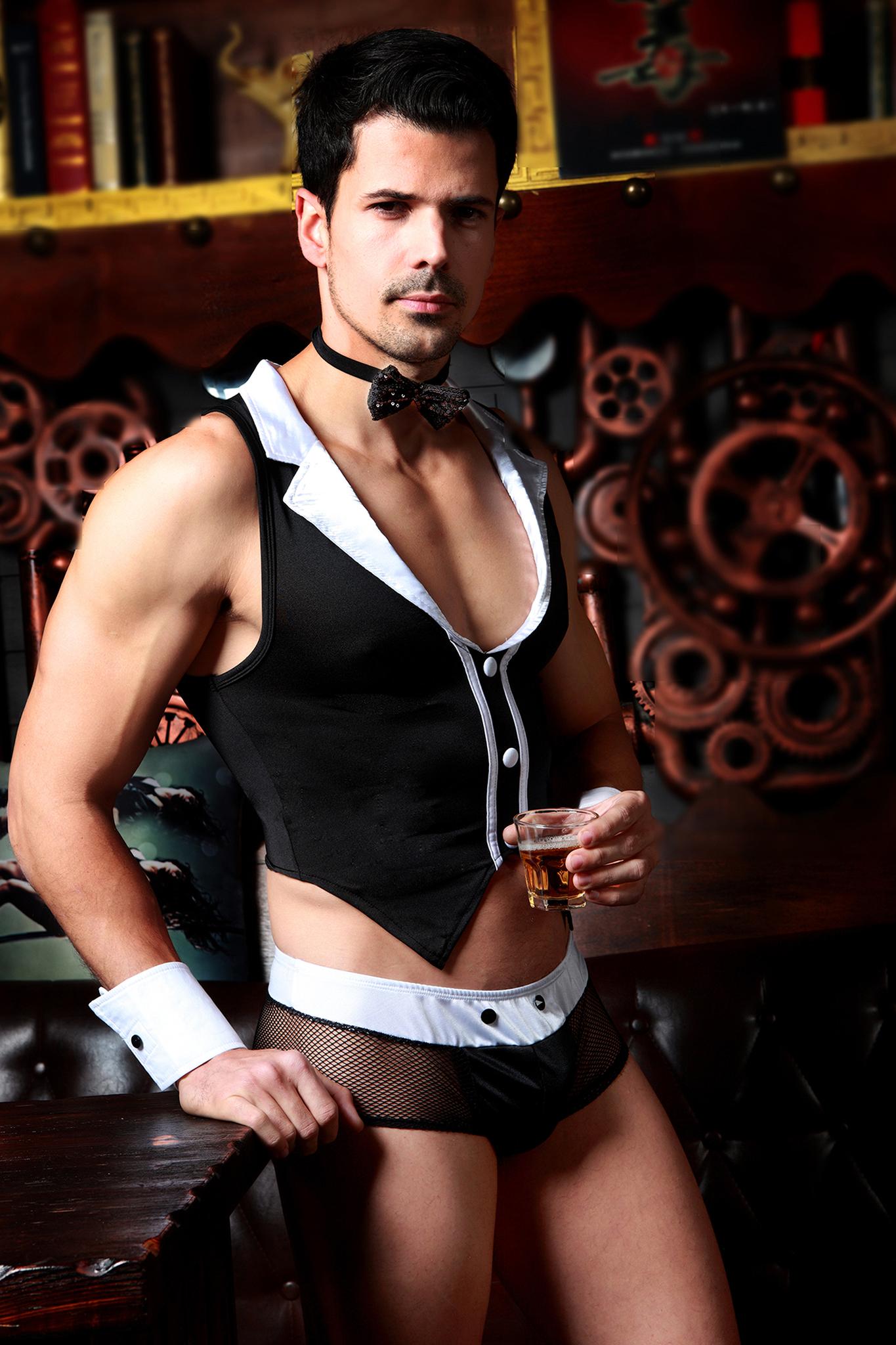 Костюм официанта Candy Boy Archer (майка, трусы, манжеты, галстук-бабочка) черно-белый, OS фото