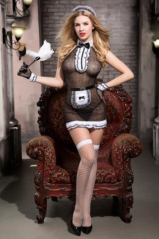 Костюм горничной Candy Girl Tiffany (комбинация, трусы, фартук, перчатки, чулки, головной убор, метелка), черно-белый, OS