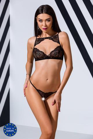 Эротический кружевной комплект белья Veronique черного цвета, состоит из бюста и контактных трусиков-стринг
