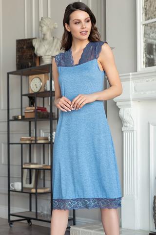 Элегантная длинная сорочка Mia-Amore выполнена из трикотажного меланжевого полотна в сочетании с кружевом