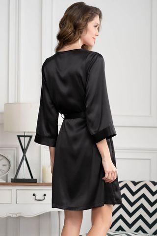 Короткий запашной халат Mia-Amore с рукавами 3/4, выполнен из однотонного искусственного шелка