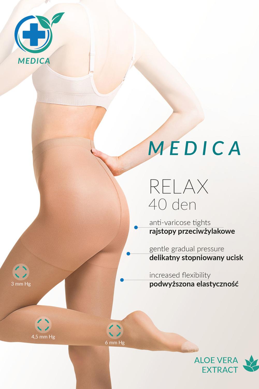 Телесные колготки с антицеллюлитным действием и с экстрактом Алоэ Вера Medica Relax 40 den фото
