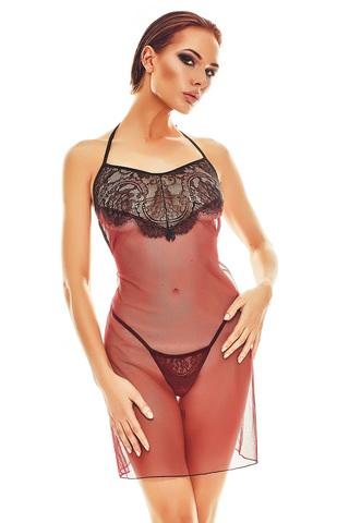 Черная с бордовым эротическая сорочка из тюля с кружевной отделкой на груди и на спине