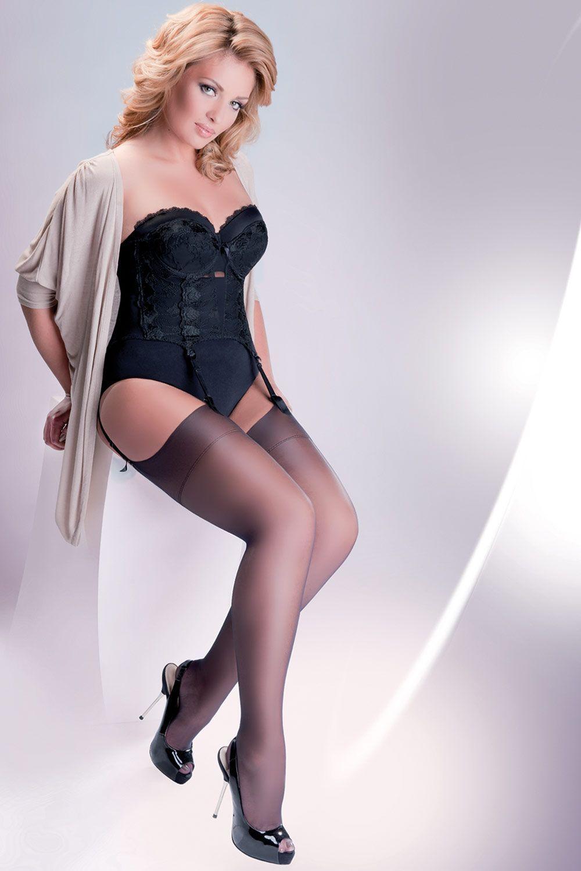 Телесные чулки Cher Plus Size 15 den без силиконовой поддержки (под пояс) фото