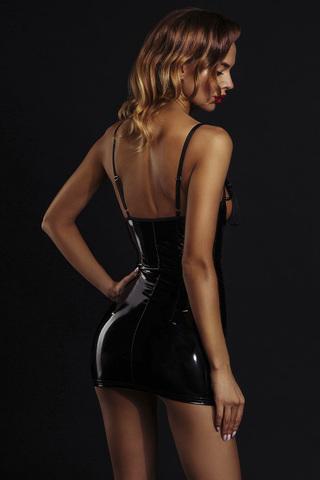 Сексуальное черное лакированное платье 7084 с кисточками на груди