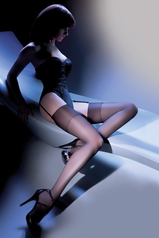 Черные чулки Calze Cher 15 den без силиконовой поддержки (под пояс) фото