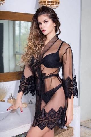 Халат домашний женский выполнен из мягкой сетки с элегантным кружевом