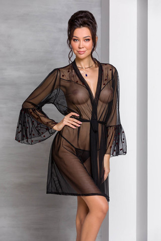 Очаровательный пеньюар Lovelia черного цвета с длинным рукавом