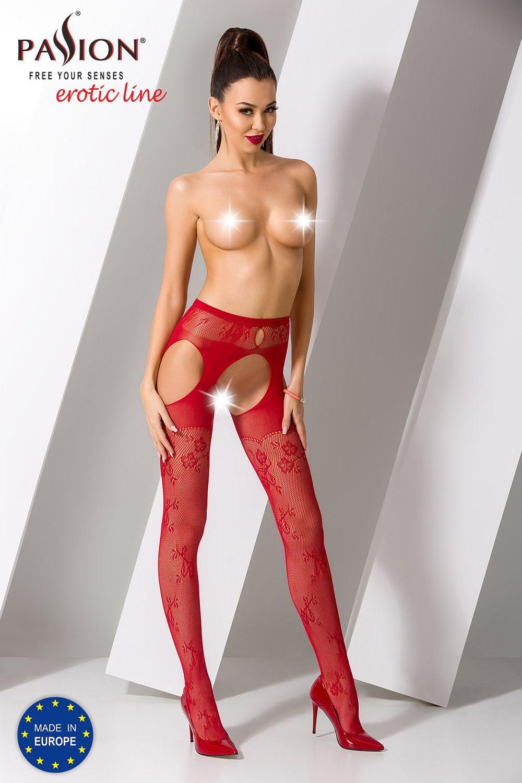 Красные чулки с поясом S022 фото