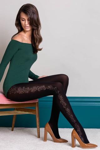 Черные фантазийные колготки Brenda c цветочным узором на внешней стороне ног