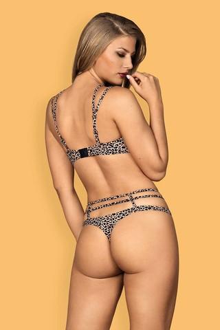 Соблазнительный леопардовый комплект белья Selvy состоит из открытого бюста и стрингов с высокой талией