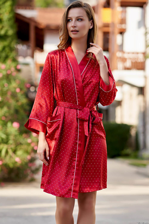 Короткий, запашной халат Mia-Amore с рукавом 3/4, выполнен из искусственного принтованного шелка фото
