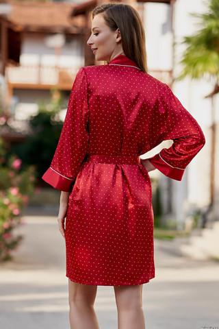 Короткий, запашной халат Mia-Amore с рукавом 3/4, выполнен из искусственного принтованного шелка