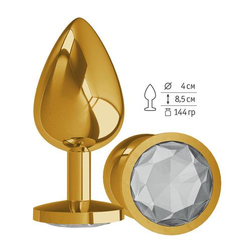 Gold Анальная втулка с прозрачным кристалом большая
