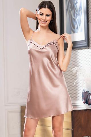 Короткая сорочка Gabriella на тонких бретелях без подреза под грудью из однотонного смесового шелка с контрастными кантами