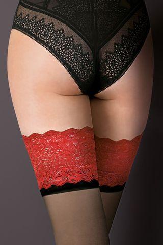 Чулки черного цвета Victoria с красной ажурной резинкой на силиконе и черной полосой под ней