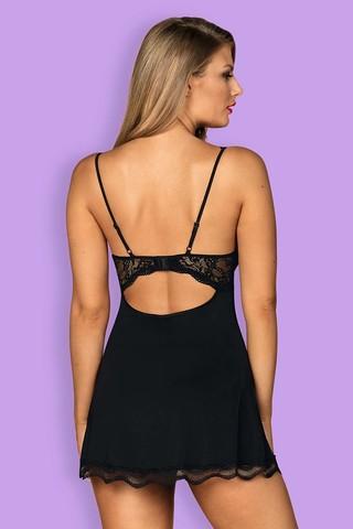 Черная сорочка-бэбидол Luvae с украшением на перемычке лифа выполнена из ткани в сочетании с кружевом