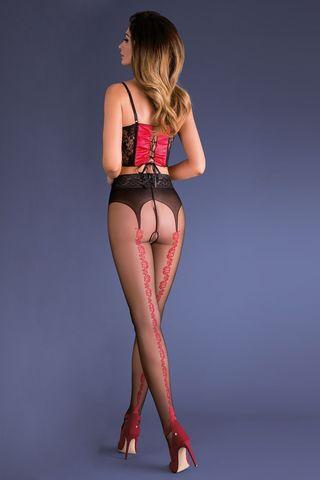 Черно-красные эротические колготки с доступом Carmen