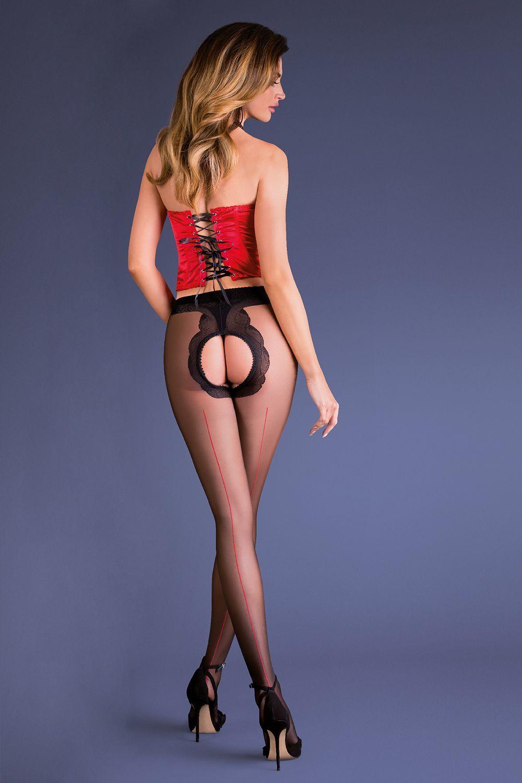 Черно-красные эротические колготки с доступом Fiera фото