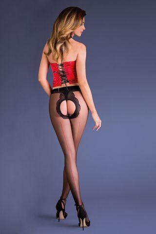Черно-красные эротические колготки с доступом Fiera