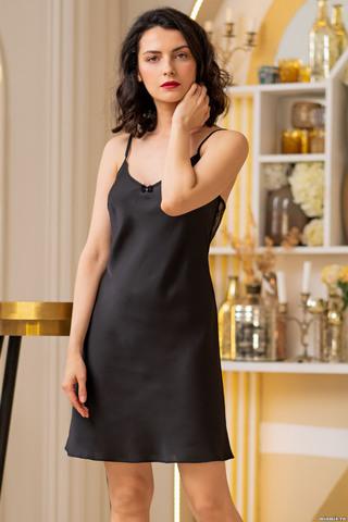 Короткая сорочка на тонких бретелях Mia-Amore выполнена из шелковистого искусственного атласа