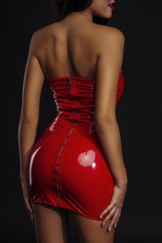 Сексуальное красное лакированное платье 7077